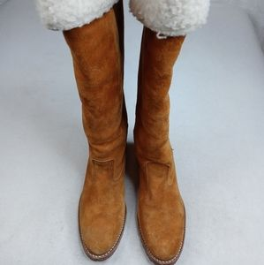 ACME Sherpa cuff and lined Boots 5.5 M Womens Sued